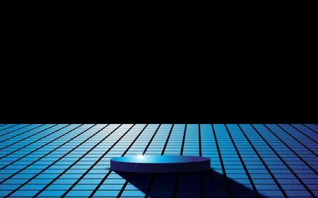 blue podium and white light in the dark room