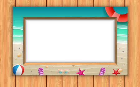 landscape of the beach in the photo frame on the wooden wall