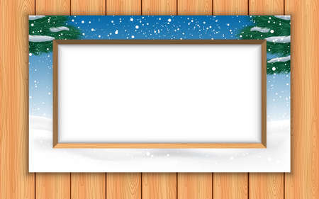 landscape of snow forest in the picture frame on the wooden wall