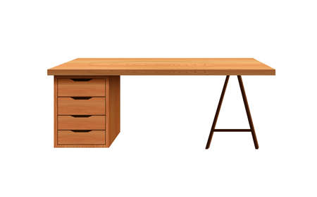 wooden desk table on the white background 矢量图像