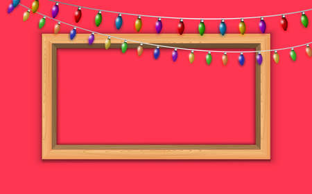 wooden photo frame and colorful hanging light on the red background