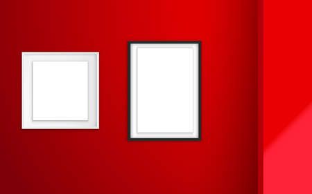 back and white photo frame in the red room