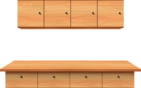 wooden counter and wooden cabinet in the white kidchen