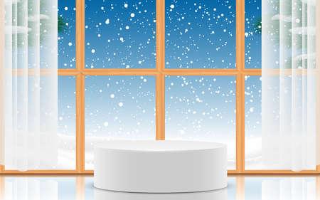 white podium at wooden windows with snowfall background 免版税图像