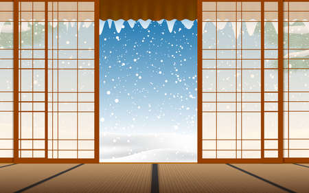 view of snowfall at the wooden house in japanese