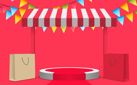 red podium with red shop background on the red background 矢量图像