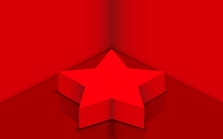 red star podium in the red studio room