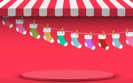 red podium with colorful socks in red shop background in christmas day 矢量图像