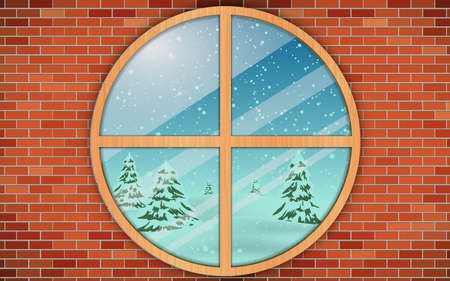 landscape of snow forest at the wooden circle window in the house