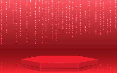 red hexagon podium in the red studio room