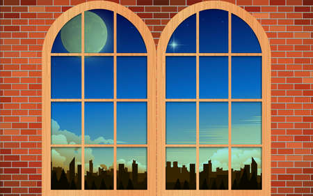 landscape of city in the morning at the windows in the house