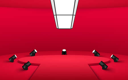 red podium and spotlight in the red room