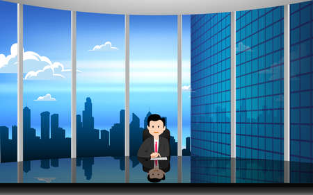 glass table in the news studio with city background in the day time 矢量图像