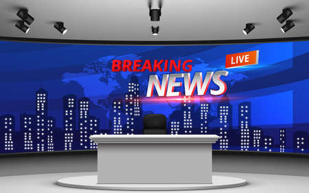 white table and chair with breaking news live on lcds background in the news studio room