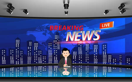 glass table and chairs with breaking news live on lcds background in the news studio room 矢量图像