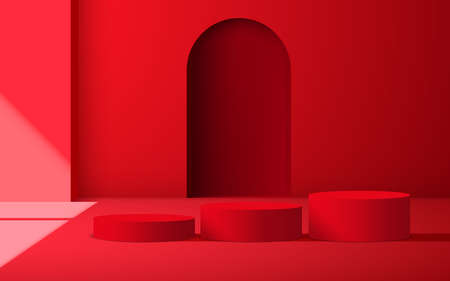 red podiums and sunlight from windows in the red room