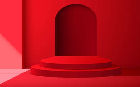 red podium with sunlight from windows in the red studio room