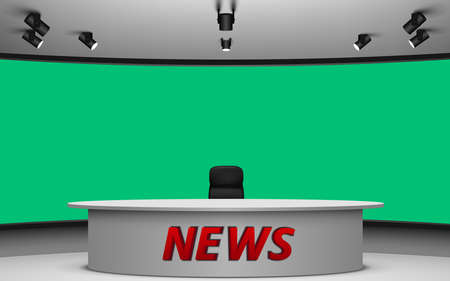 white table and chair in news studio room with the green background