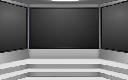 white stage and lcds background in a news studio room