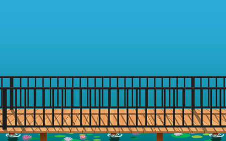 landscape of wooden bridge on the lotus swamp in daytime 矢量图像