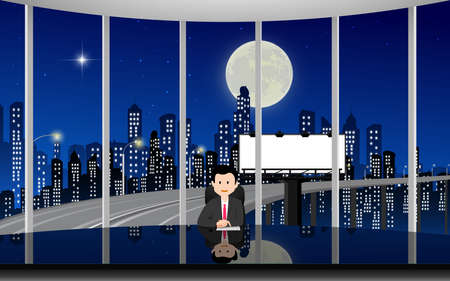glass table in the news studio with city background in the night 免版税图像