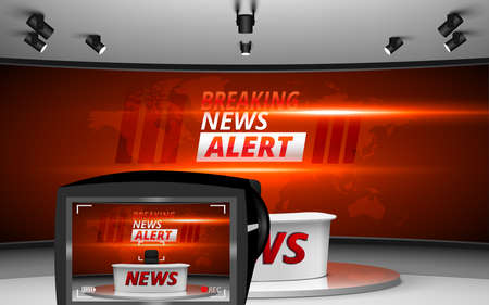 camera and white table on breaking news alert in led screen background in the news studio room 矢量图像