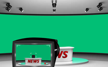 camera and white table on green background in the news studio room 矢量图像