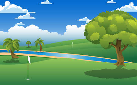 landscape of golf course in the day time