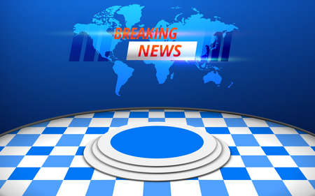 blue stage and breaking news on led screen background in the news studio