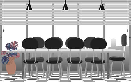 interior of meeting room in office on the high building in flat design Illusztráció