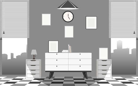 interior of livng room on the condominium in the city in flat design