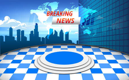 blue stand and breaking news on lcd screen background in the news studio room Illusztráció