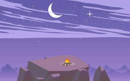 camping at the cliff on the mountain the night in flat design