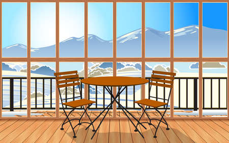 wooden table and chair in the living room with snow forest in the morning background