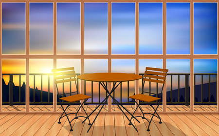 wood table and chair in wooden resort on the mountain in the morning