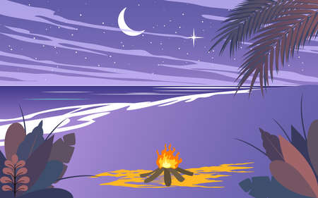 landscape of camping on the beach in the night in flat design Illusztráció