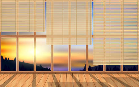 bamboo curtain on the wooden windows in the wooden house on the mountain in the morning Stock fotó