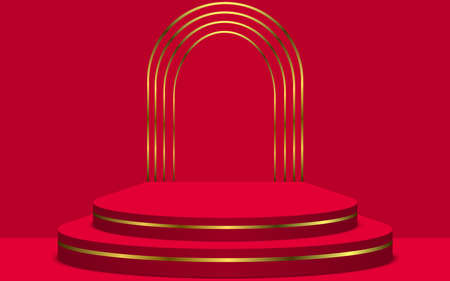 red and gold podium in the red room