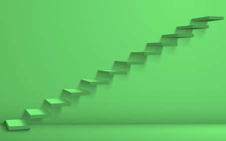 green staircase and light in the green room