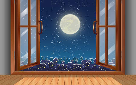 wooden table at the windows in the full moon night in winter