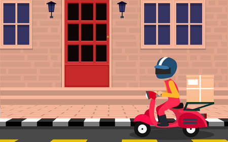 delivery motorcycle on the road in the city in flat design