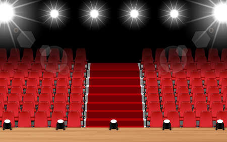 wooden stage with spotlight and red seats in the hall Stock fotó