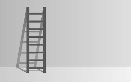 black ladder with light in the white wall Illusztráció