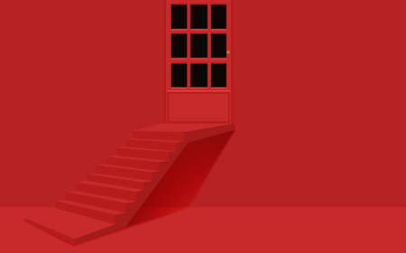 red staircase and door in the red room Illusztráció