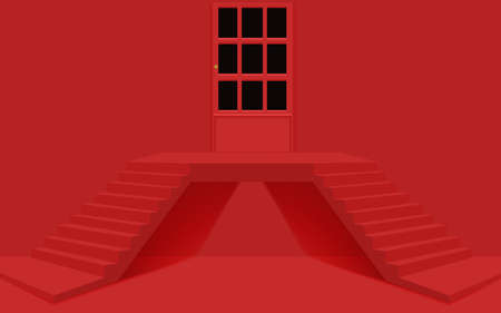red two-way stairs and door on the red room Illusztráció