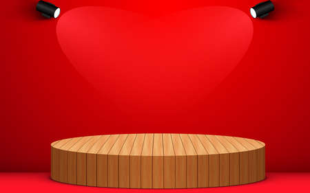 wooden podium and spotlight in the red room