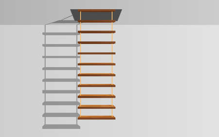 wooden hanging ladder with light on the white ceiling