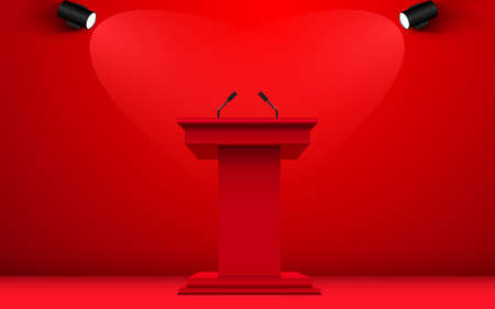 red announcement podium and microphone with spotlight in the red room
