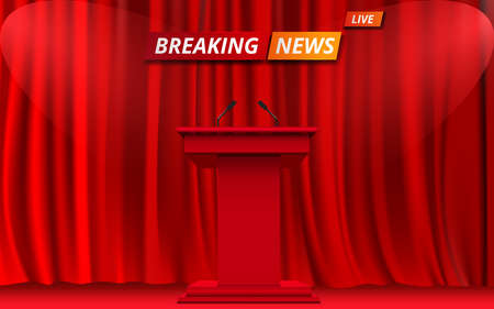 red announcement podium and microphone with spotlight on the red curtain in news studio
