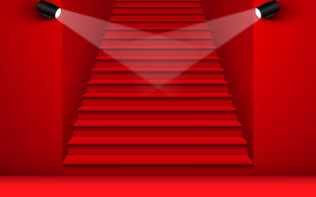 Red staircase with spotlight in red room